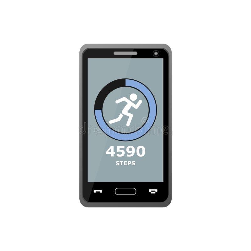 Geschiktheid die app, Smartphone volgen stock illustratie