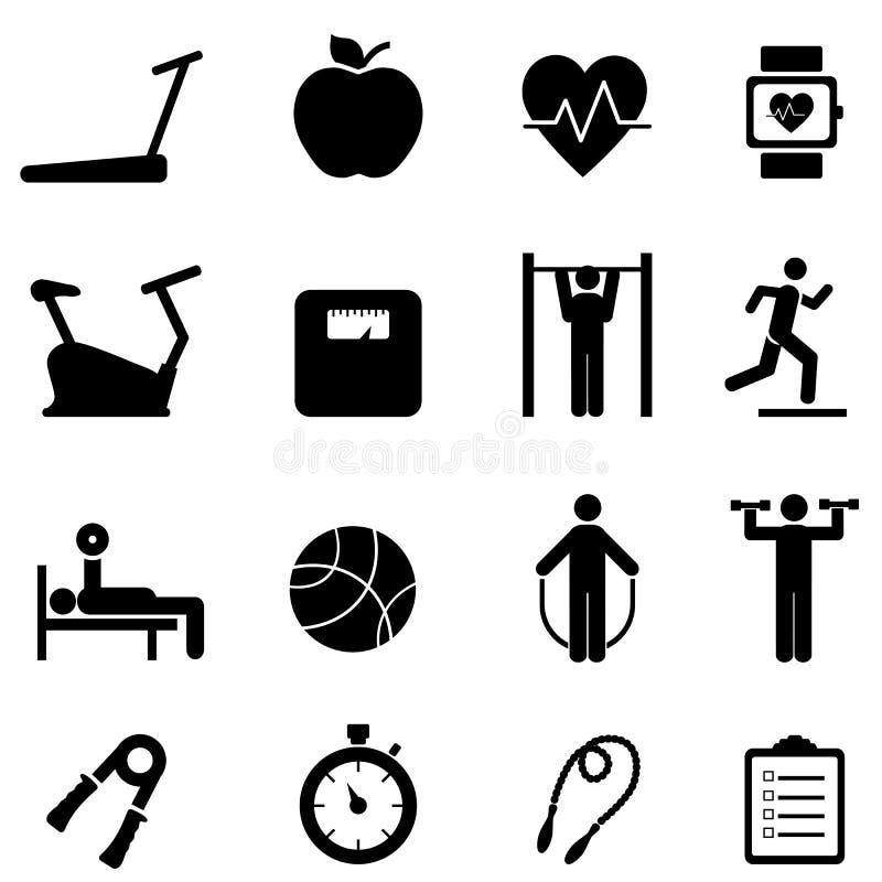 Geschiktheid, dieet en gezonde het levenspictogrammen vector illustratie