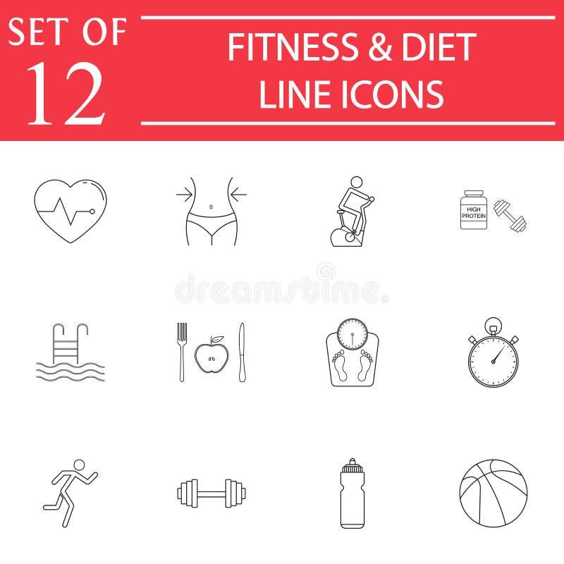 Geschiktheid en dieet de reeks van het lijnpictogram, het Gezonde leven vector illustratie