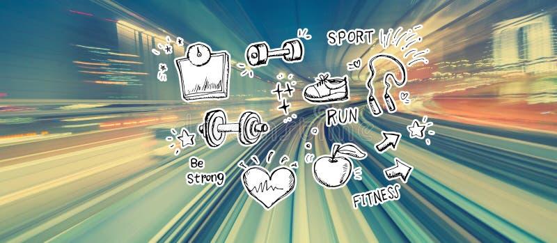 Geschiktheid en dieet met het onduidelijke beeld van de hoge snelheidsmotie royalty-vrije illustratie