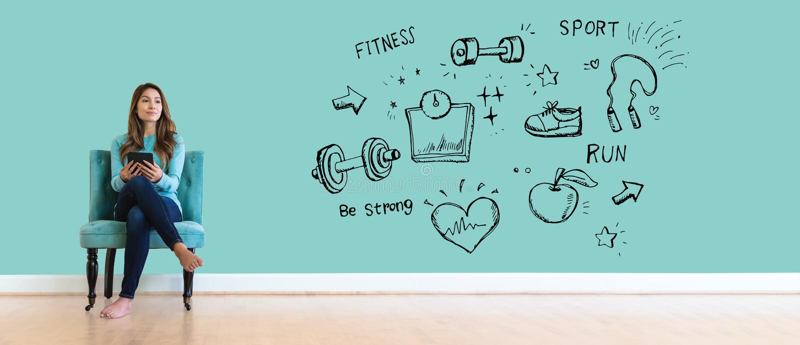 Geschiktheid en dieet met jonge vrouw vector illustratie