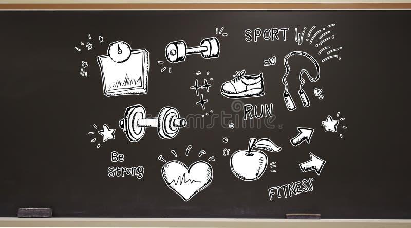 Geschiktheid en dieet op een bord stock illustratie