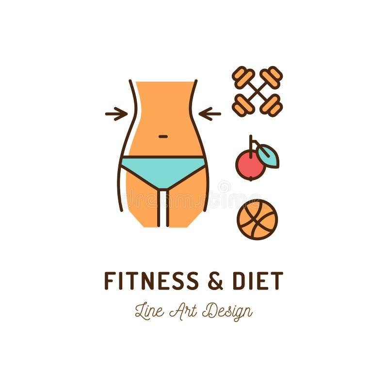 Geschiktheid en dieetpictogram, Juiste voeding en gezond levensstijlpictogram Het dunne kleurrijke ontwerp van de lijnkunst, vlak stock illustratie