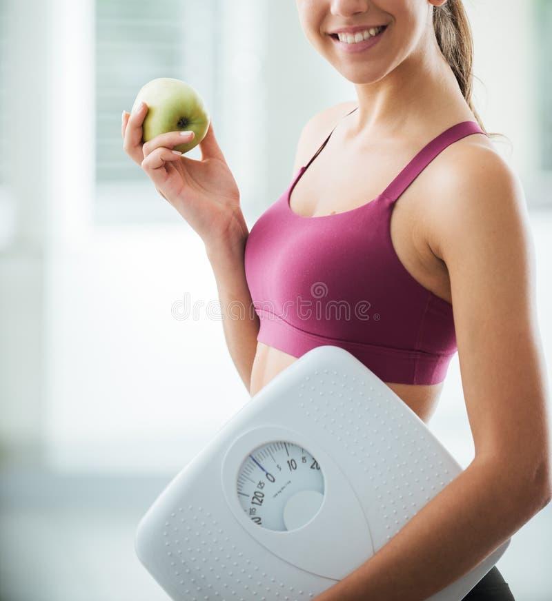 Geschiktheid en het gezonde eten stock foto