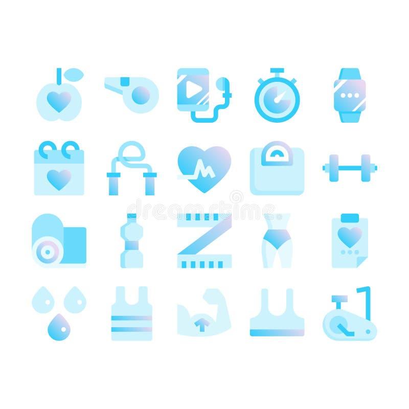 geschiktheid en oefeningsgradiënt vlakke pictogrammen stock illustratie