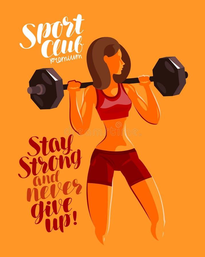 Geschiktheid, gymnastiek, bodybuilding concept Meisje of jonge vrouw met zware barbell Motievenuitdrukking, van letters voorziend vector illustratie