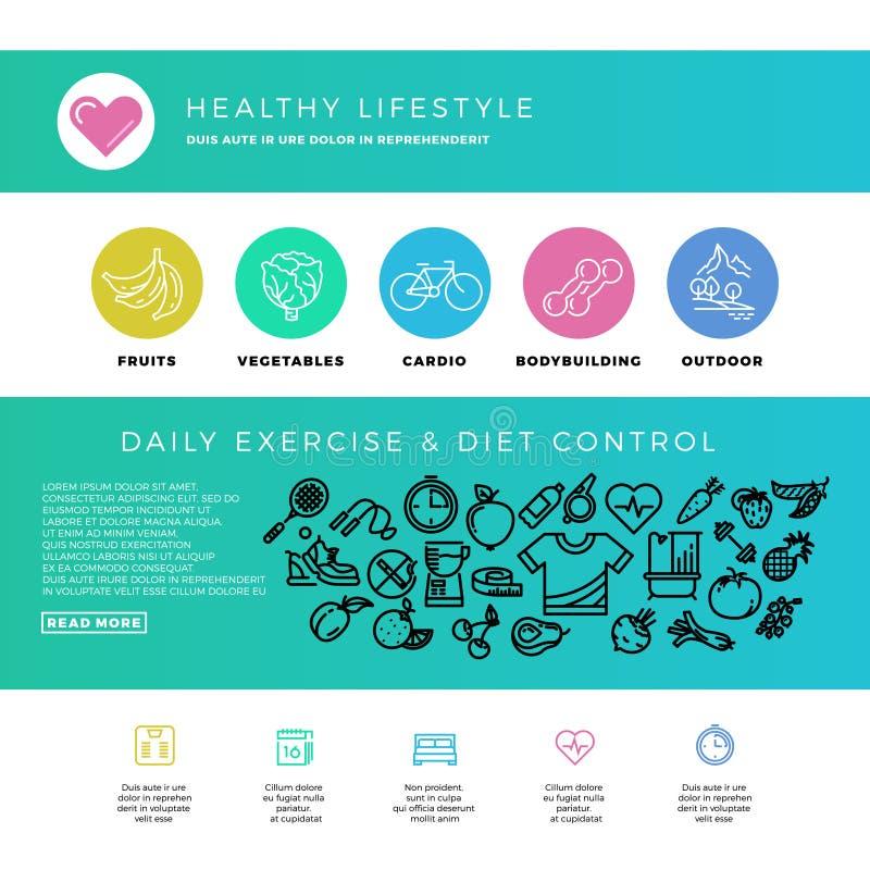 Geschiktheid, gymnastiek, cardio, gezonde levensstijl, natuurlijke voeding, het malplaatje van het Webontwerp met dunne lijnpicto vector illustratie