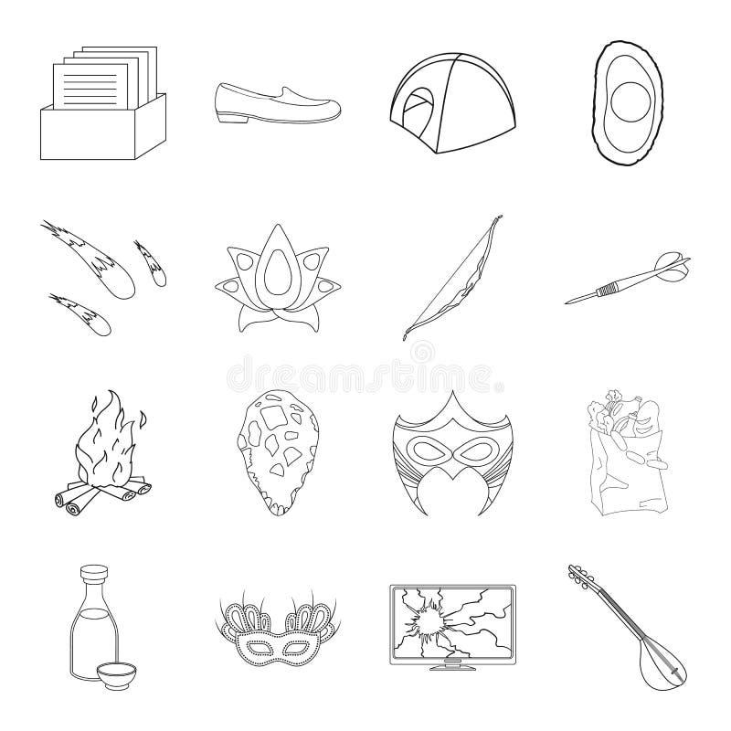 Geschiktheid, ruimte, Brazilië en ander Webpictogram in overzichtsstijl Voorhistorisch, het winkelen, muziekpictogrammen in vastg vector illustratie