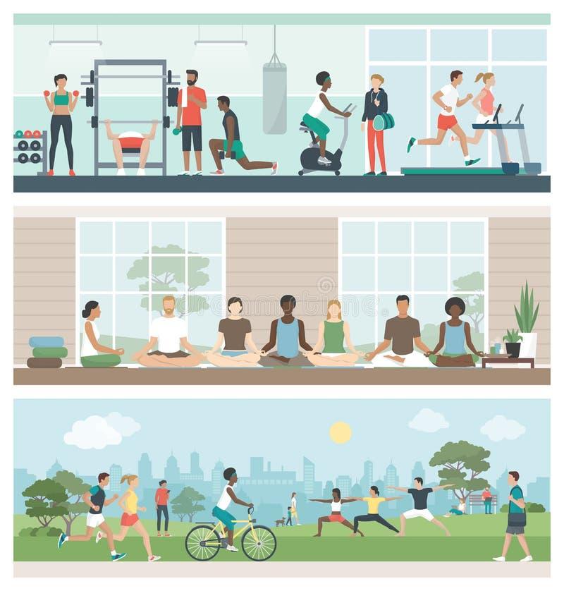 Geschiktheid, welzijn en gezonde levensstijl stock illustratie