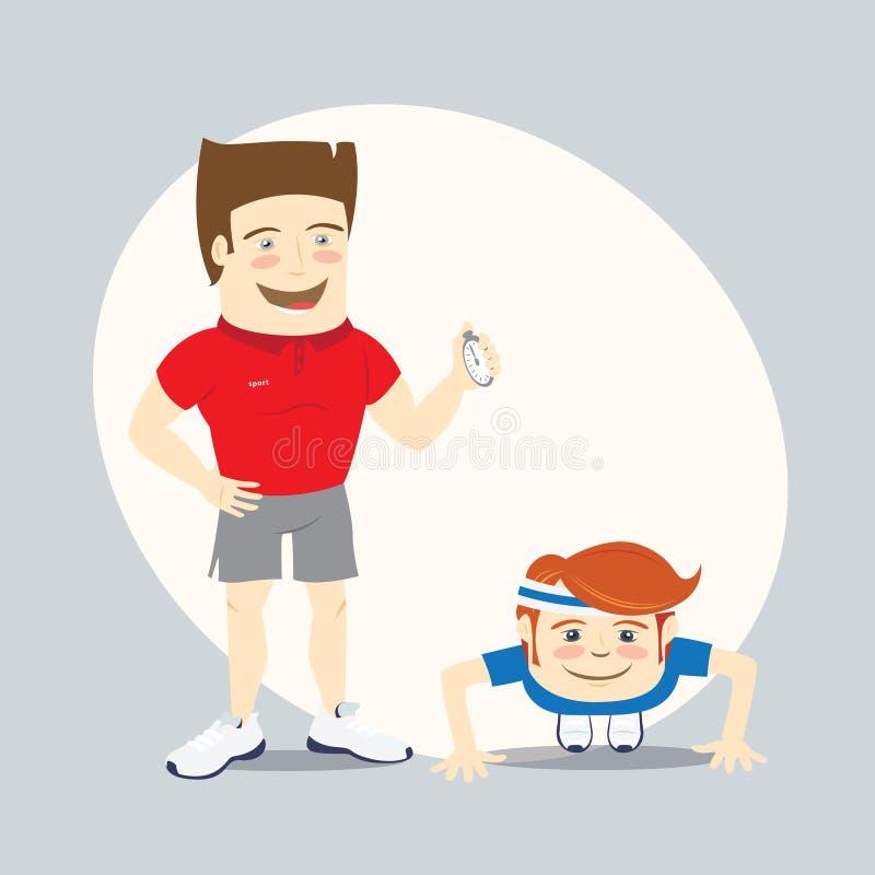 Geschiktheids persoonlijke trainer en grappige sportman die opdrukoefeningen doen royalty-vrije illustratie