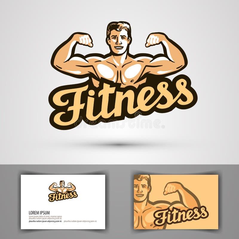 Geschiktheids vectorembleem gymnastiek, bodybuilding pictogram vector illustratie