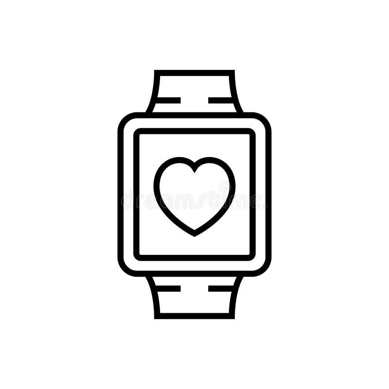 Geschiktheids volgend smartwatch pictogram slim horloge met hartsymbool eenvoudige grafische monoline vector illustratie