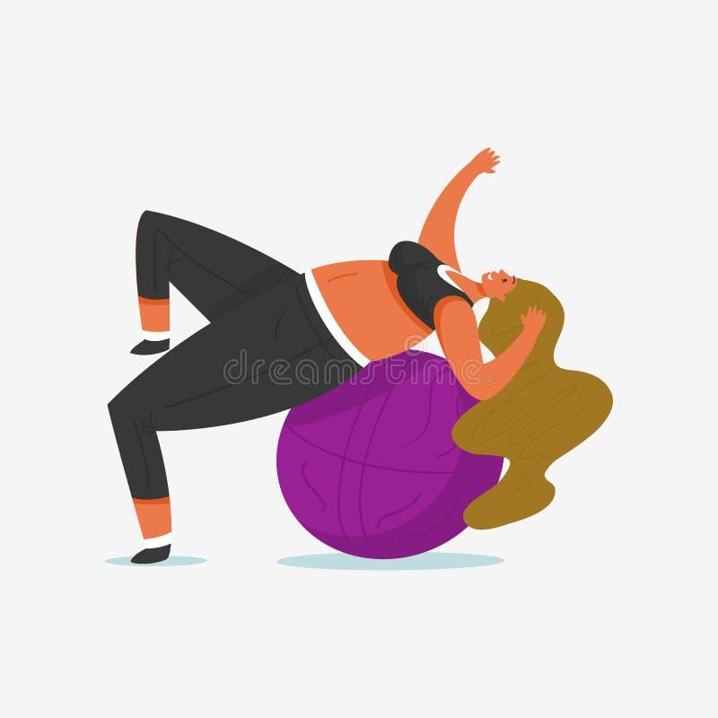 Geschiktheidsbal voor Meisje plus Grootte Gezondheidssport in club Vette Vrouw die oefeningen, gewichtsverlies, het opwarmen doen stock illustratie