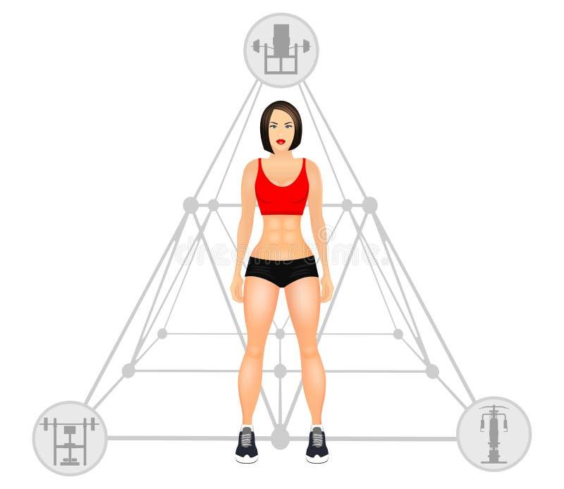 Geschiktheidsconcept met geschikte vrouw in sportkleding Het spiermeisje van het Modellenbeeldverhaal Vrouw met een sportieve lic vector illustratie