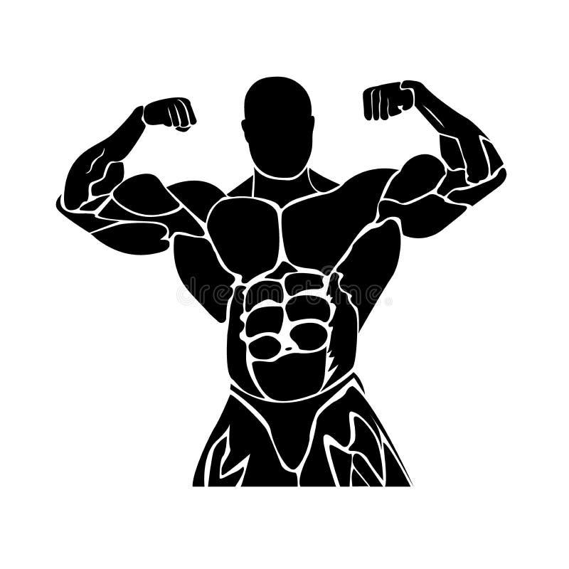 Geschiktheidsontwerp, het bodybuilding, vectorillustratie stock illustratie