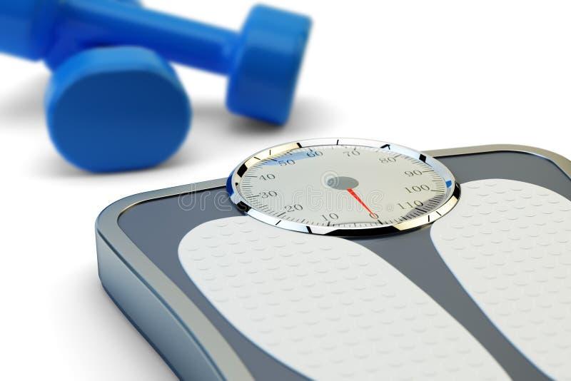 Geschiktheidstraining, vermageringsdieetoefeningen en het concept van het gewichtsverlies vector illustratie
