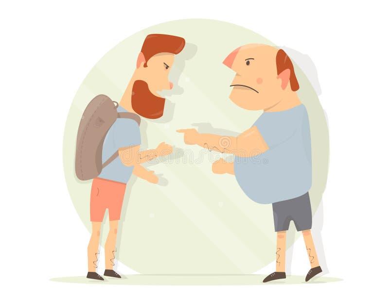 Geschil tussen twee mensen Mannelijke agressie royalty-vrije illustratie