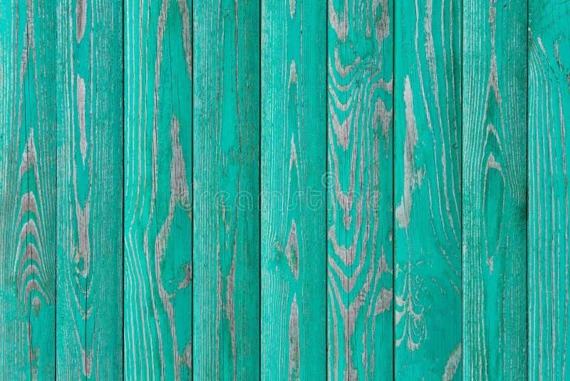 Geschilderd in de turkooise houten textuur van muurpanelen, achtergrond stock fotografie