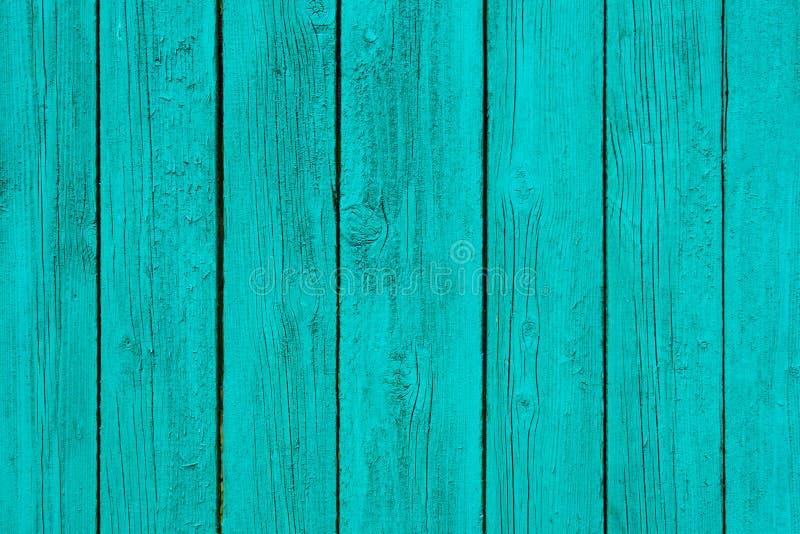Geschilderd in de turkooise houten textuur van muurpanelen, achtergrond stock foto