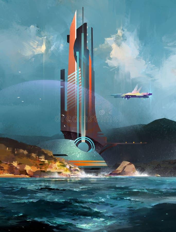 Geschilderd fantastisch landschap met een futuristisch gebouw en een ruimteschip vector illustratie