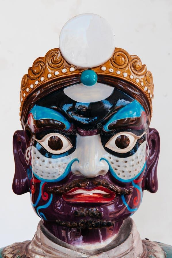Geschilderd gezicht van antieke Chinese de steenstrijder van de schipballast ceram royalty-vrije stock afbeelding