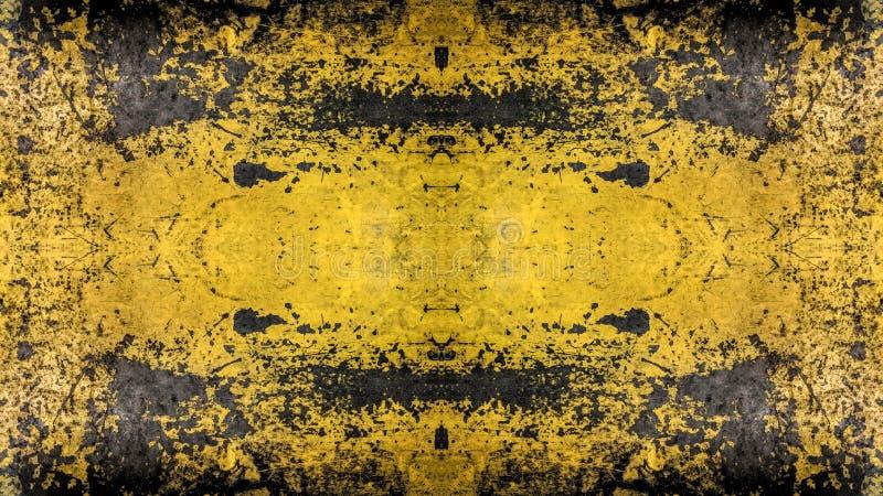 Geschilderd het ontwerp van de Grungestijl geel met blauwe sporen en sporen van roest stock afbeelding