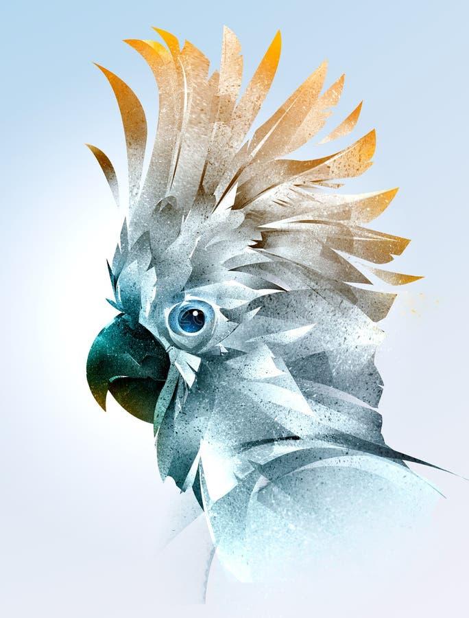 Geschilderd kleurenportret van een vogel van de papegaaikant stock illustratie