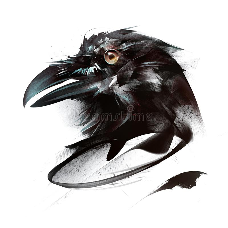 Geschilderd kleurenportret van vogelkraai op witte achtergrond aan kant stock illustratie