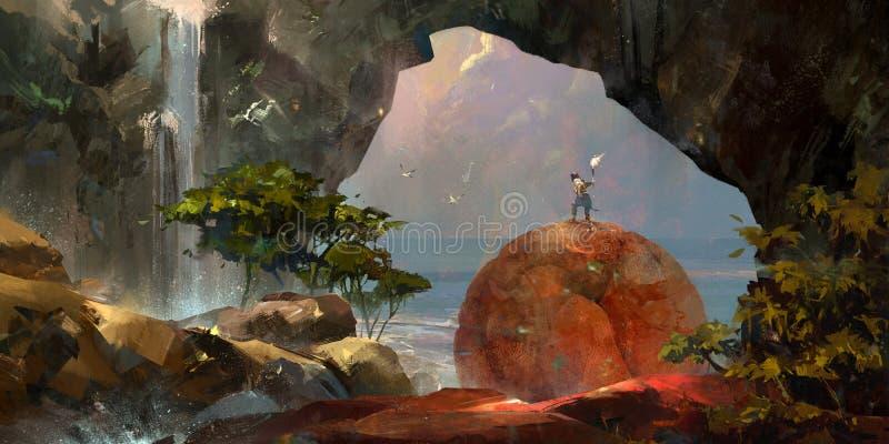 Geschilderd kleurrijk fantasielandschap met een reiziger en een waterval vector illustratie