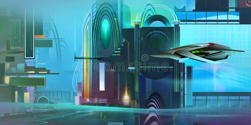 Geschilderd kleurrijk fantastisch cyberpunklandschap met een ruimteschip vector illustratie