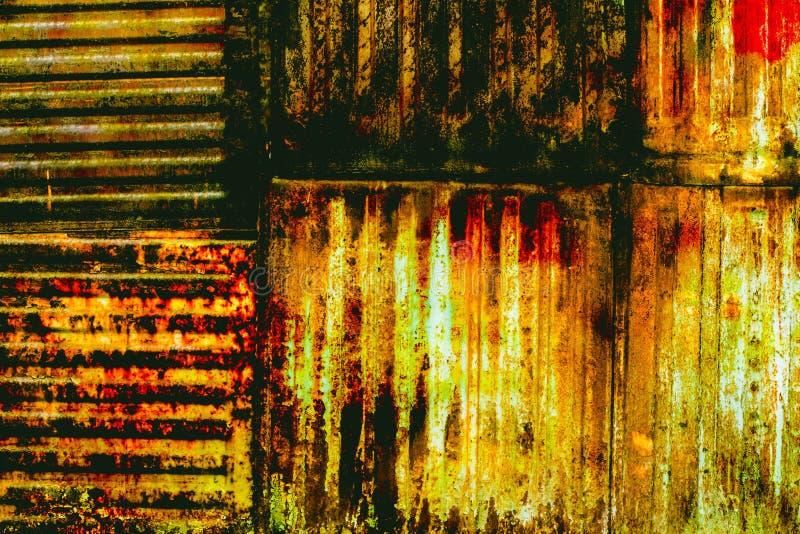 Geschilderd metaal met roesttextuur stock foto's