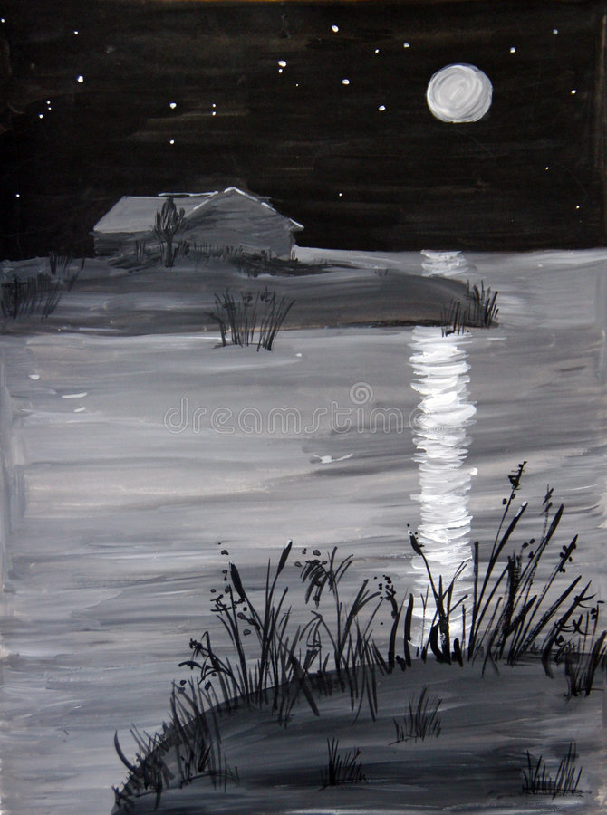 Geschilderd nachtlandschap royalty-vrije illustratie