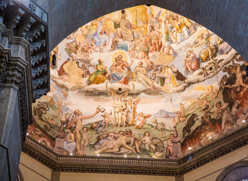 Geschilderd Overkoepeld Plafond in Kapel in Florence royalty-vrije stock afbeeldingen