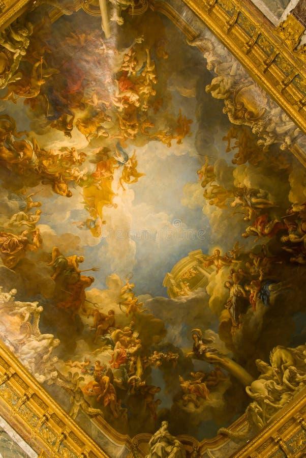 Geschilderd plafond van het paleis van Versailles stock afbeelding