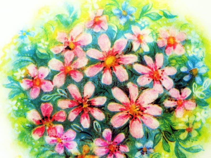 Geschilderd roze bloemenboeket royalty-vrije stock fotografie