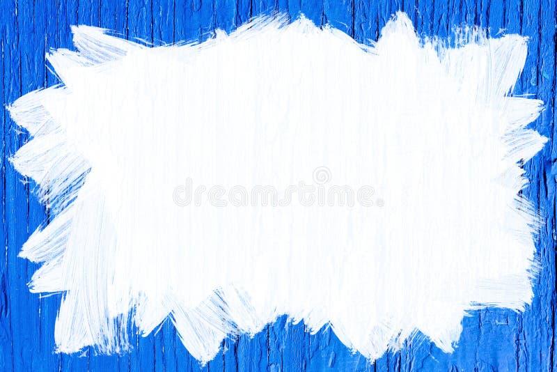 Geschilderd Wit Gebied op Blauwe Houten Achtergrond stock afbeelding