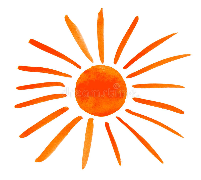 Geschilderd zon die op witte achtergrond wordt geïsoleerd royalty-vrije illustratie