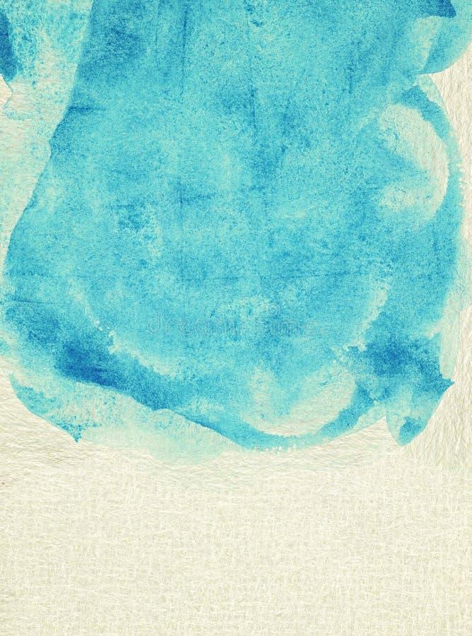 Geschilderde blauwe waterverfachtergrond op pakpapier stock afbeeldingen