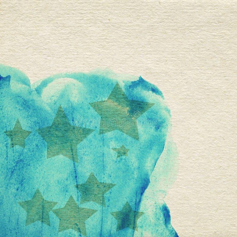 Geschilderde blauwe waterverfachtergrond op pakpapier royalty-vrije illustratie