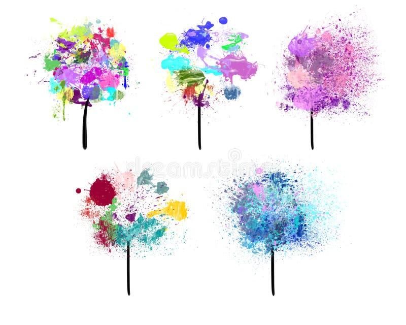 Geschilderde Bomen stock illustratie