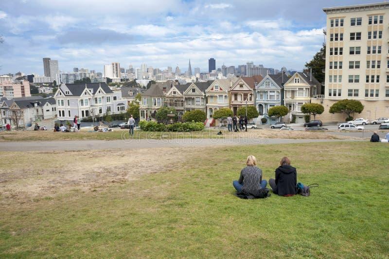 Geschilderde Dames in San Francisco royalty-vrije stock afbeelding