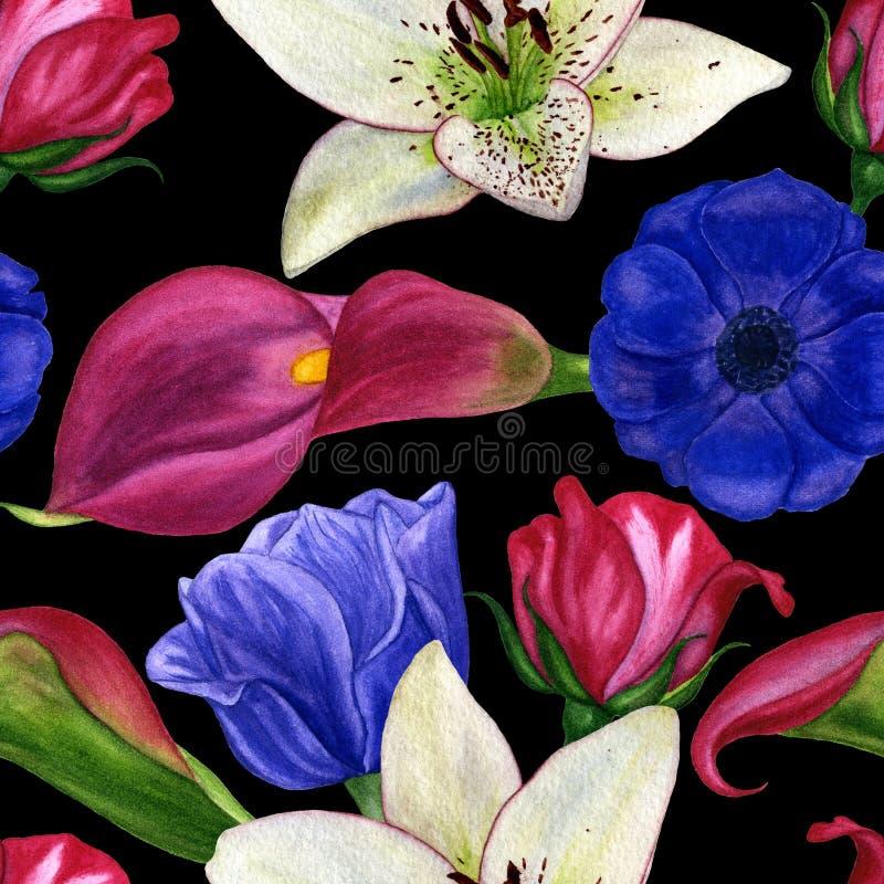 Geschilderde de hand van de Watercolourillustratie Het naadloze patroon met de lente bloeit magnolia's, calla lelies, anemonen en vector illustratie