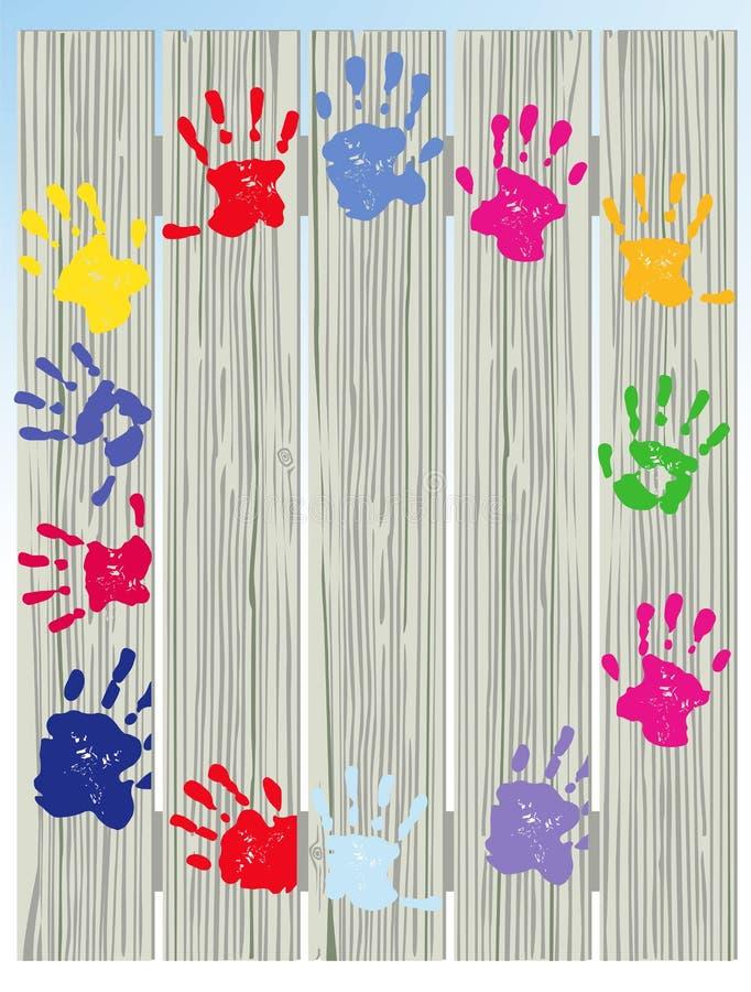 Geschilderde de Handdrukken van het kind op Omheining royalty-vrije illustratie