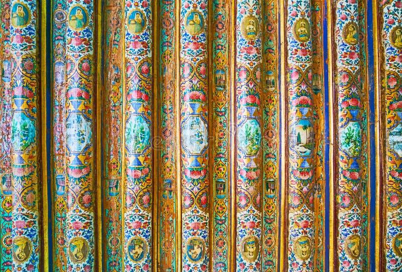 Geschilderde details van Qavam-Huis, Shiraz, Iran royalty-vrije stock fotografie
