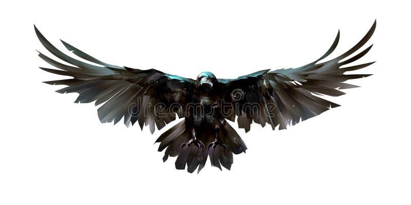 Geschilderde gekleurde vogelkraaien vooraan vector illustratie