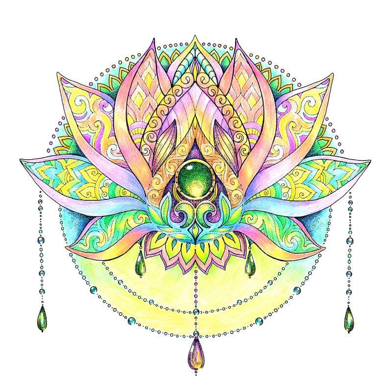 Geschilderde hand het trekken van mandala, lotusbloem vector illustratie