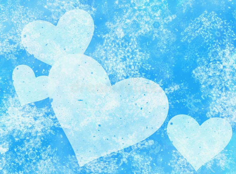 Geschilderde harten op sneeuwval en sterrenachtergronden stock illustratie