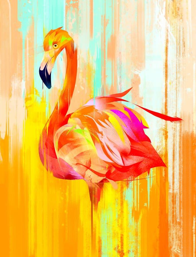 Geschilderde heldere flamingovogel aan de kant stock illustratie