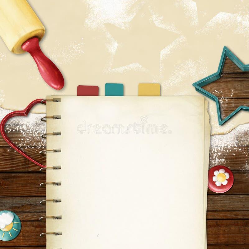 Geschilderde het bakken achtergrond: deeg, deegrol, coo vector illustratie
