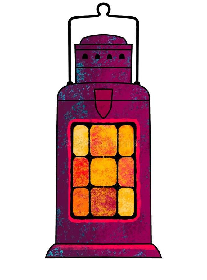 Geschilderde kerosinelamp Een kaars, een kandelaar in de vorm van een lamp Illustratie vector illustratie